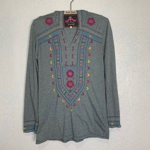 Johnny Was gray hooded soft cotton blend boho top